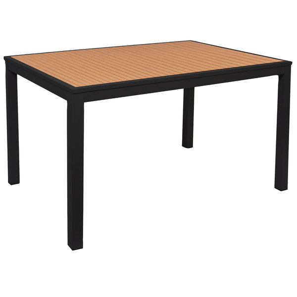 BFM Seating PHLTKBL Longport X Rectangular Black - Teak and aluminium outdoor table