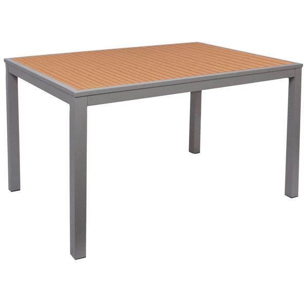 "BFM Seating PH4L3248TKSV Longport 32"" x 48"" Rectangular Silver Aluminum Outdoor / Indoor Standard Height Table - Synthetic Teak Main Image 1"