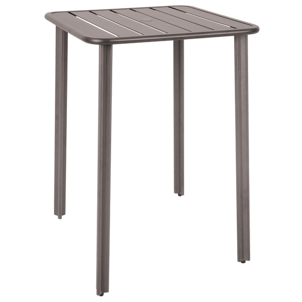 """BFM Seating DVV3232ERUT Vista 32"""" Square Earth Aluminum Outdoor / Indoor Bar Height Table with Umbrella Hole"""