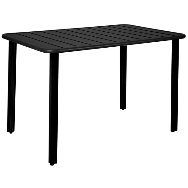 "BFM Seating DVV2432BL Vista 24"" x 32"" Rectangular Black Aluminum Outdoor / Indoor Standard Height Table Main Image 1"