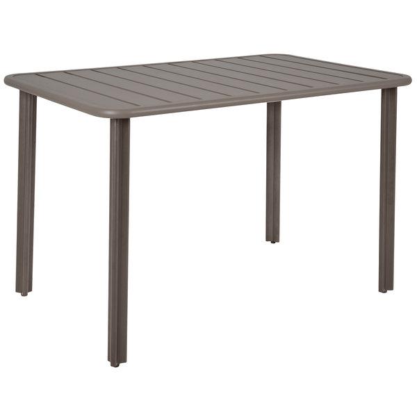 "BFM Seating DVV2432ER Vista 24"" x 32"" Rectangular Earth Aluminum Outdoor / Indoor Standard Height Table Main Image 1"