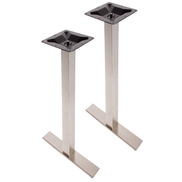 BFM Seating PHTB0024SST Elite Stainless Steel Outdoor / Indoor Bar Height  End Table Base Set