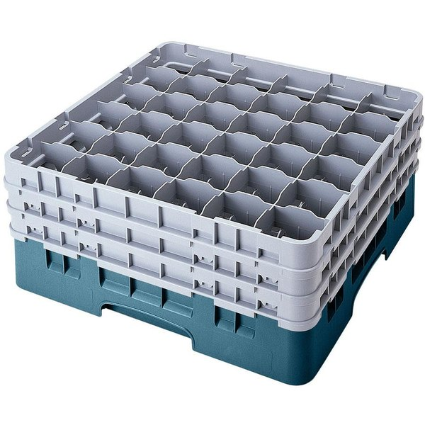 "Cambro 36S638414 Teal Camrack Customizable 36 Compartment 6 7/8"" Glass Rack"