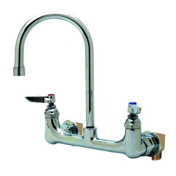 """T&S B-0331-VF22-EL Vandal-Resistant Wall Mounted Faucet with 8"""" Adjustable Centers, 10 13/16"""" High Swivel Gooseneck, Eterna Cartridges, and Installation Kit"""