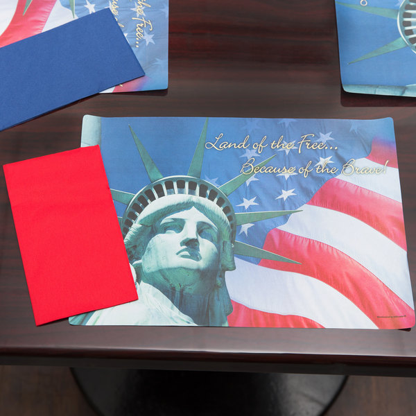 "Hoffmaster 856778 10"" x 14"" Land of the Free Placemat Combo Pack - 250/Case"