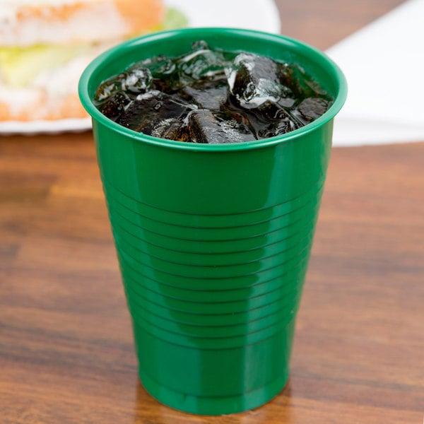 Creative Converting 28112071 12 oz. Emerald Green Plastic Cup - 20/Pack