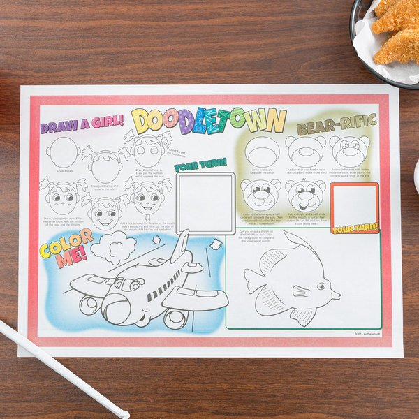 "Hoffmaster 310692 10"" x 14"" Doodletown Fun Double Sided Interactive Placemat - 1000/Case"