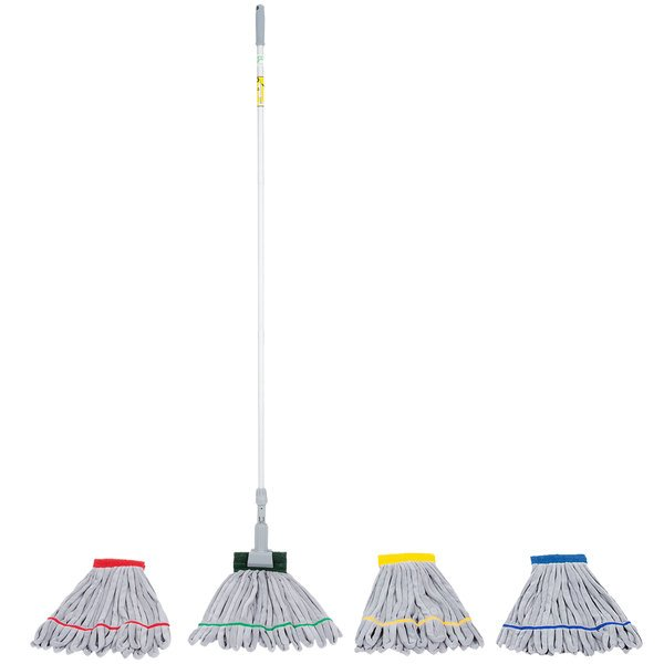 Unger SmartColor 16 oz. Microfiber String Mop Head Kit with Mop Handle, Mop Holder, and Cone Adapter