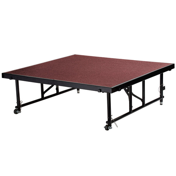 "National Public Seating TFXS48482432C40 Transfix 48"" x 48"" Adjustable Portable Stage with Red Carpet - 24"" to 32"" Height Main Image 1"