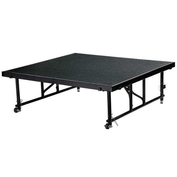 """National Public Seating TFXS48482432C10 Transfix 48"""" x 48"""" Adjustable Portable Stage with Black Carpet - 24"""" to 32"""" Height Main Image 1"""