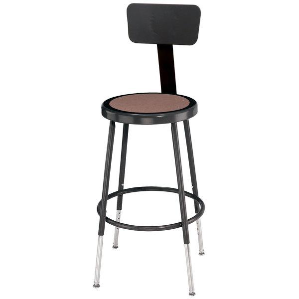"National Public Seating 6218HB-10 18"" Adjustable Black Round Hardboard Lab Stool with Backrest"