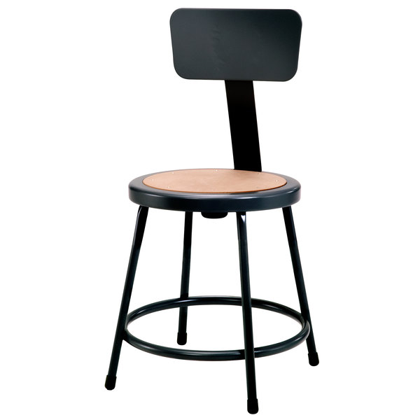 Marvelous National Public Seating 6218B 10 18 Black Round Hardboard Lab Stool With Adjustable Backrest Caraccident5 Cool Chair Designs And Ideas Caraccident5Info