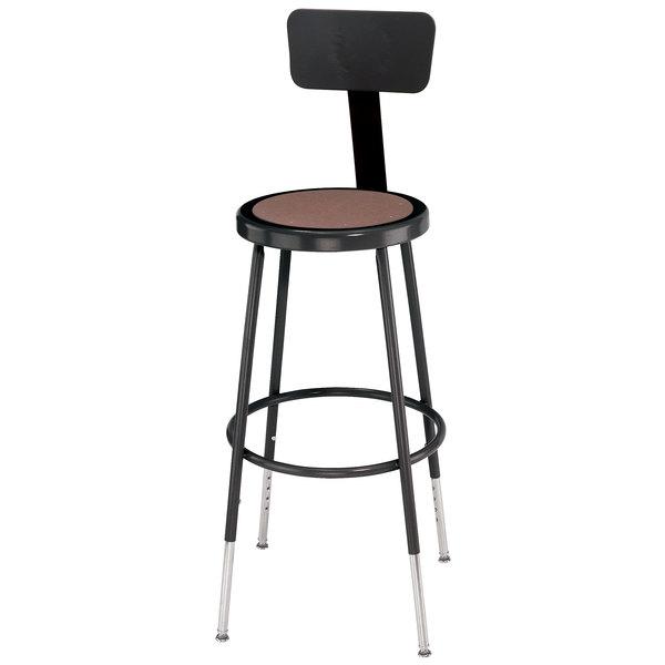 "National Public Seating 6224HB-10 24"" Adjustable Black Round Hardboard Lab Stool with Backrest"