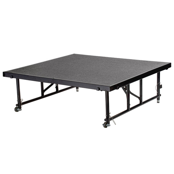"National Public Seating TFXS48482432C02 Transfix 48"" x 48"" Adjustable Portable Stage with Gray Carpet - 24"" to 32"" Height Main Image 1"