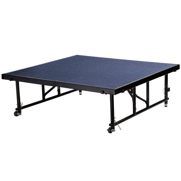 "National Public Seating TFXS48482432C04 Transfix 48"" x 48"" Adjustable Portable Stage with Blue Carpet - 24"" to 32"" Height"