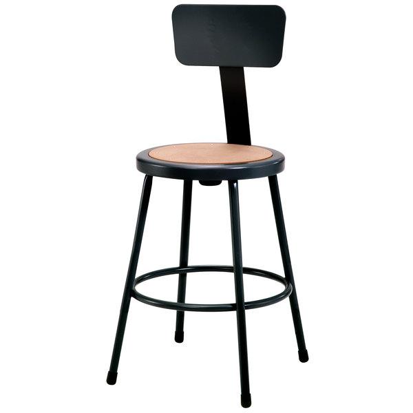 "National Public Seating 6224B-10 24"" Black Round Hardboard Lab Stool with Adjustable Backrest Main Image 1"