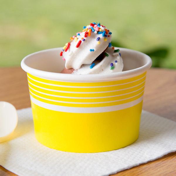 Choice 8 oz. Yellow Paper Frozen Yogurt Cup - 1000/Case
