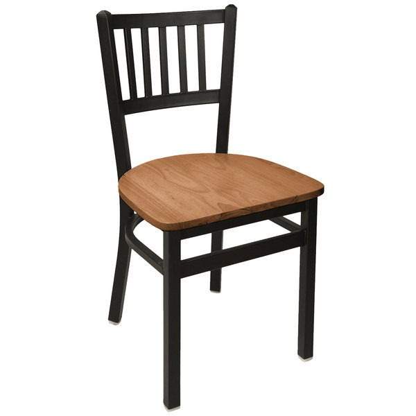 BFM Seating 2090CASH-SB Troy Sand Black Steel Side Chair with Autumn Ash Wooden Seat Main Image 1