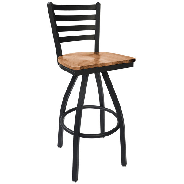 BFM Seating 2160SASH-SB Lima Sand Black Steel Bar Height Chair with Autumn Ash Wooden Swivel Seat