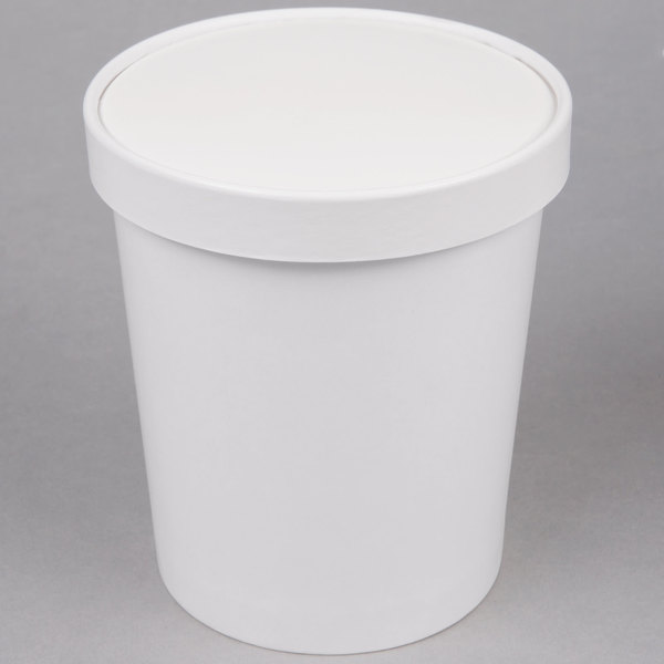 Choice 1 Qt White Paper Double Wall Ice Cream Container with Paper