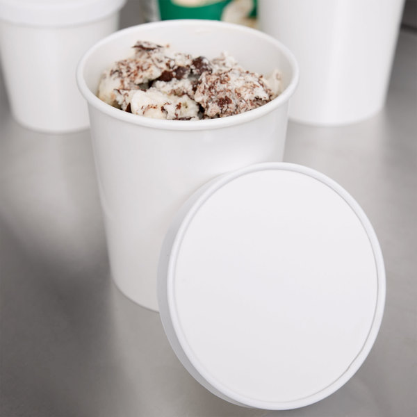 Choice 1 Qt. White Paper Double-Wall Ice Cream Container with Paper Lid - 25/Pack