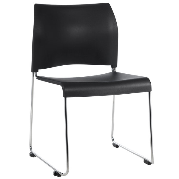 National Public Seating 8810-11-10 Cafetorium Black Stacking Chair Main Image 1