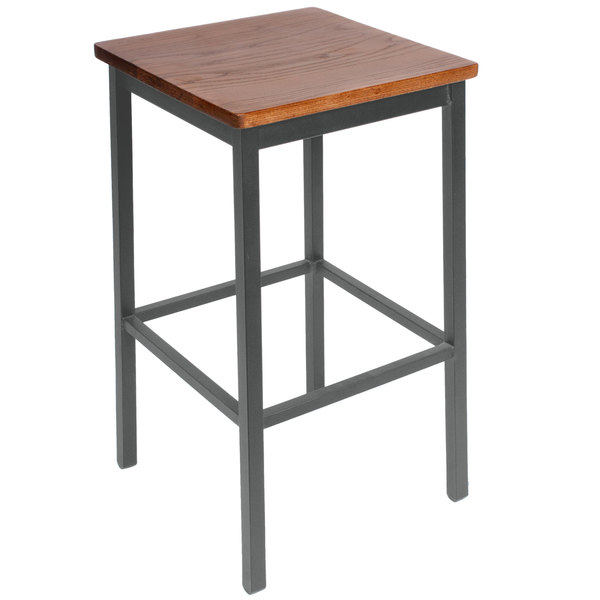 BFM Seating 2510BASH-SV Trent Sand Silver Steel Bar Stool with Autumn Ash Wooden Seat