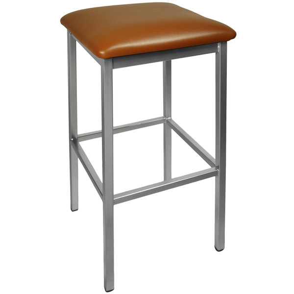 "BFM Seating 2510BLBV-CL Trent Clear Coated Steel Bar Stool with 2"" Light Brown Vinyl Seat Main Image 1"