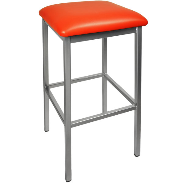 "BFM Seating 2510BRDV-CL Trent Clear Coated Steel Bar Stool with 2"" Red Vinyl Seat Main Image 1"