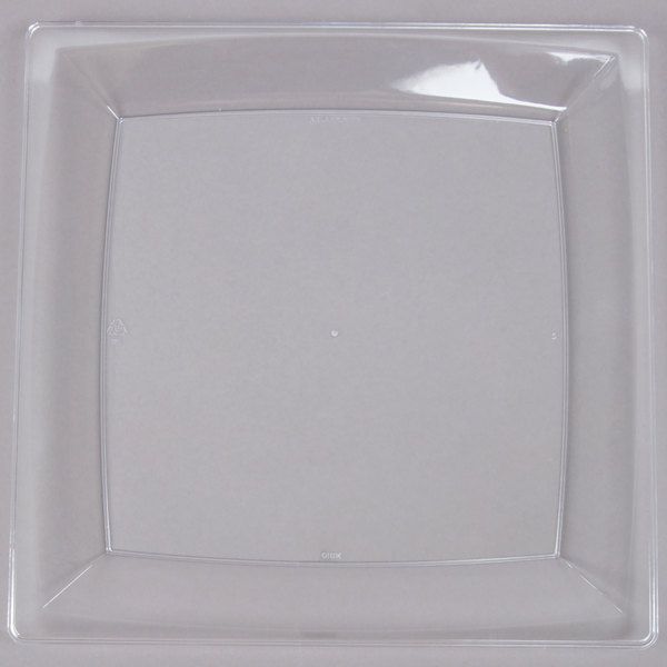 WNA Comet MS10CL 9 1/4 inch Clear Square Milan Plastic Plate  - 12/Pack