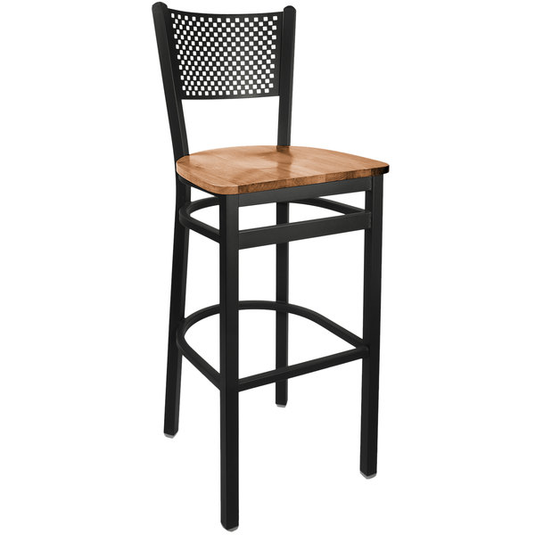 BFM Seating 2161BASH-SB Polk Sand Black Steel Bar Height Chair with Autumn Ash Wooden Seat Main Image 1