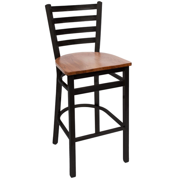 BFM Seating 2160BASH-SB Lima Sand Black Steel Bar Height Chair with Autumn Ash Wooden Seat Main Image 1