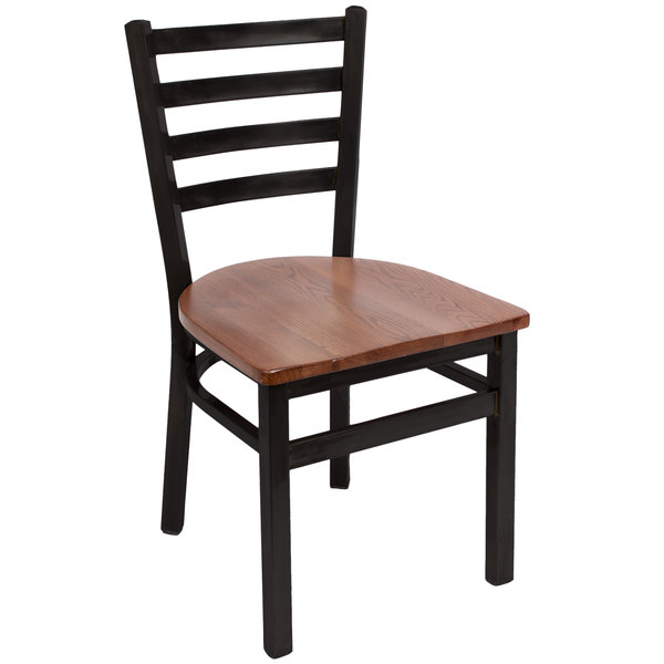 BFM Seating 2160CASH-SB Lima Sand Black Steel Side Chair with Autumn Ash Wooden Seat Main Image 1