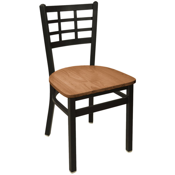 BFM Seating 2163CASH-SB Marietta Sand Black Steel Side Chair with Autumn Ash Wooden Seat Main Image 1