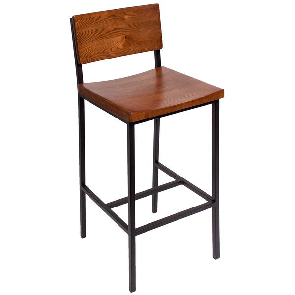 BFM Seating JS33BASH-SB Memphis Sand Black Steel Bar Height Chair with Autumn Ash Wooden Back and Seat Main Image 1