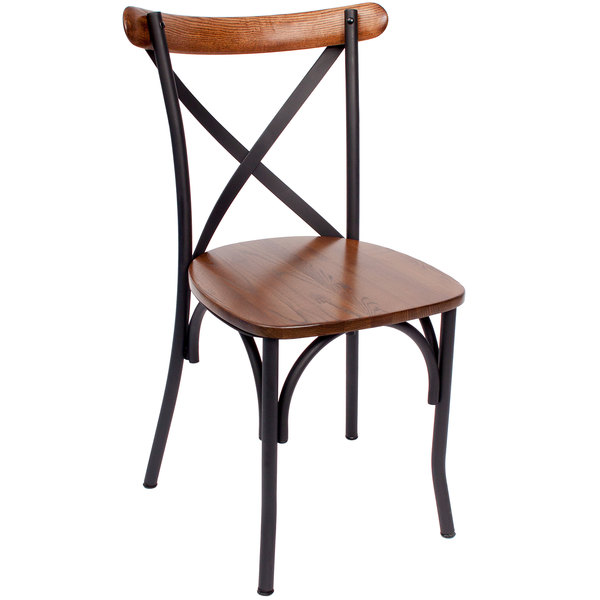 BFM Seating JS88CASH SB Henry Sand Black Steel Side Chair With Autumn Ash  Wooden Back And Seat