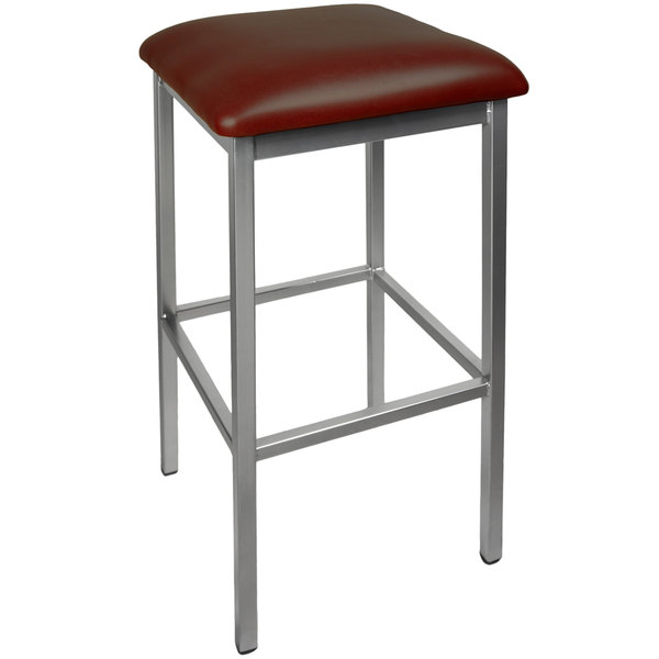 """BFM Seating 2510BBUV-CL Trent Clear Coated Steel Bar Stool with 2"""" Burgundy Vinyl Seat Main Image 1"""
