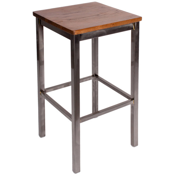 BFM Seating 2510BASH-CL Trent Sand Clear Coated Steel Bar Stool with Autumn Ash Wooden Seat Main Image 1
