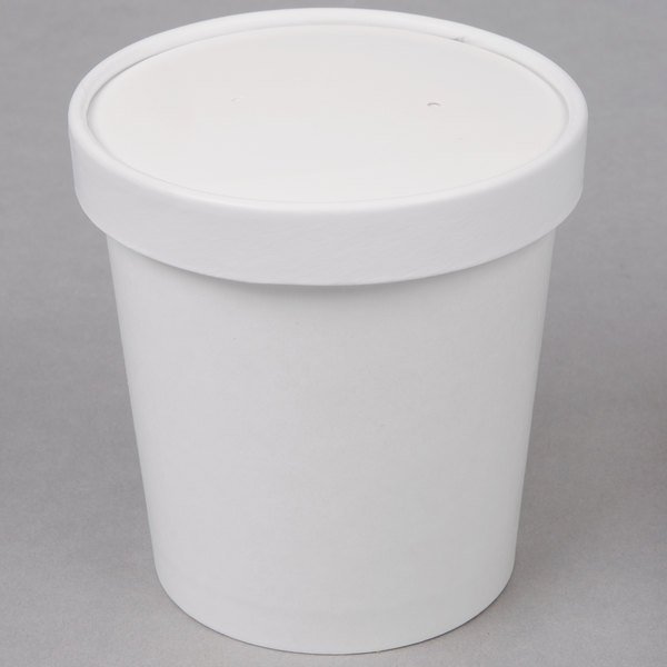 Choice 1 Pint White Paper Double Wall Ice Cream Container with Paper
