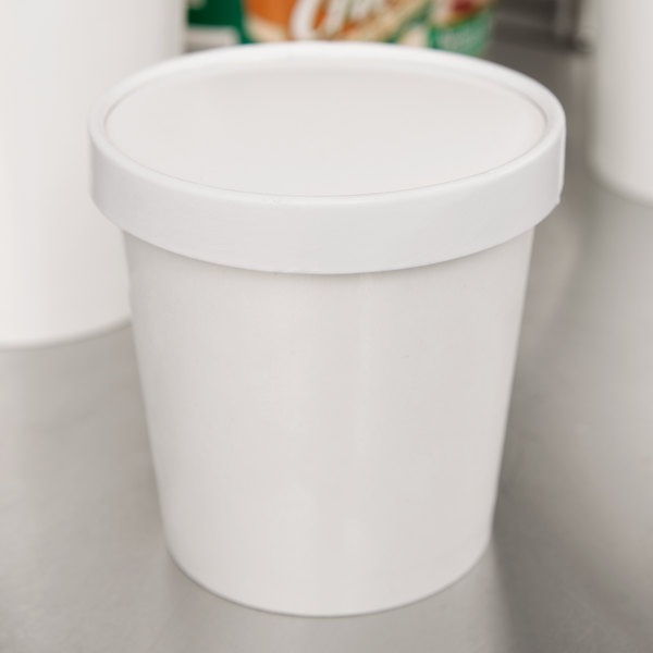Choice 1 Pint White Paper Double-Wall Ice Cream Container with Paper Lid - 25/Pack