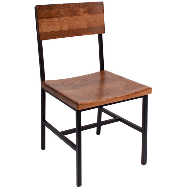 BFM Seating JS33CASH-SB Memphis Sand Black Steel Side Chair with Autumn Ash Wooden Back and Seat Main Image 1