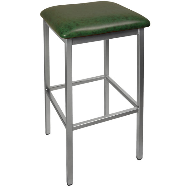 """BFM Seating 2510BGNV-CL Trent Clear Coated Steel Bar Stool with 2"""" Green Vinyl Seat"""