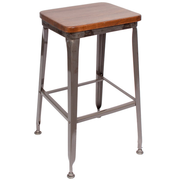 BFM Seating JS200BASH-CL Lincoln Clear Coated Steel Bar Stool with Autumn Ash Wooden Seat Main Image 1