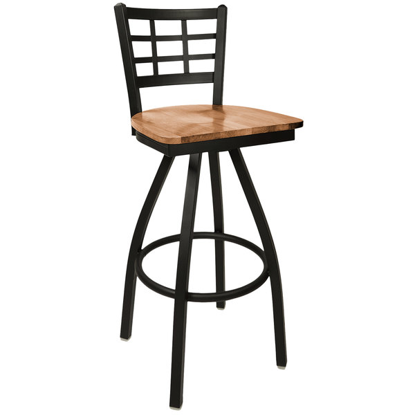 BFM Seating 2163SASH-SB Marietta Sand Black Metal Swivel Bar Height Chair with Autumn Ash Wood Seat Main Image 1