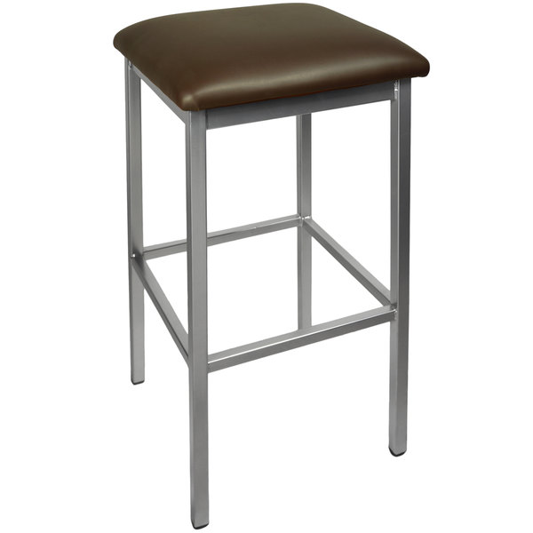 "BFM Seating 2510BDBV-CL Trent Clear Coated Steel Bar Stool with 2"" Dark Brown Vinyl Seat"