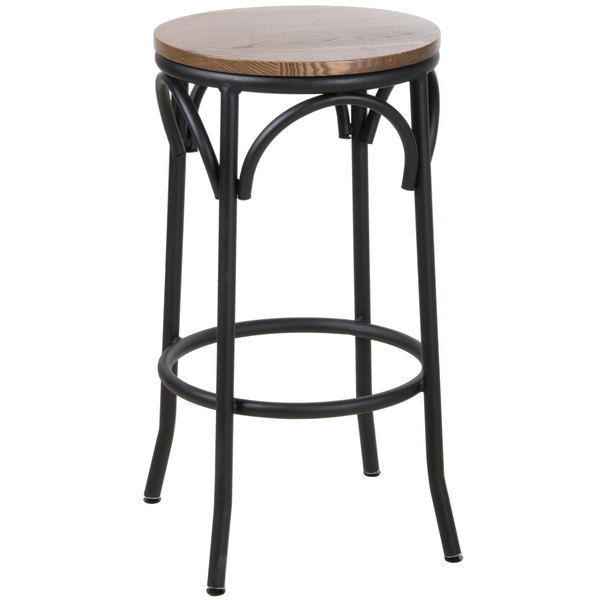 BFM Seating JS800BASH-SB Henry Sand Black Steel Bar Stool with Autumn Ash Wooden Seat Main Image 1
