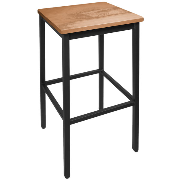 BFM Seating 2510BASH-SB Trent Sand Black Steel Bar Stool with Autumn Ash Wooden Seat