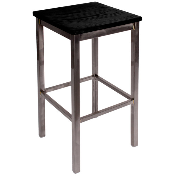 BFM Seating 2510BBLW-CL Trent Clear Coated Steel Bar Stool with Black Wooden Seat Main Image 1