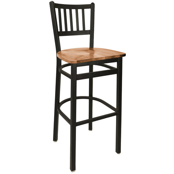 BFM Seating 2090BASH-SB Troy Sand Black Steel Bar Height Chair with Autumn Ash Wooden Seat Main Image 1