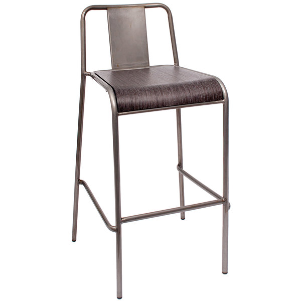 BFM Seating DV381GR-CL Tara W Clear Coated Stackable Steel Bar Height Chair with Urban Gray Veneer Seat